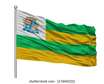 Aracaju City Flag On Flagpole, Country Brasil, Isolated On White Background, 3D Rendering