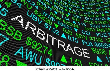 Arbitrage Stock Price Difference Profit Market Selling 3d Illustration