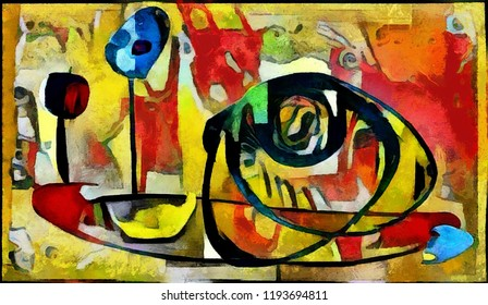 Arbitrary abstraction in the modern style of cubism. Made with oil on canvas with elements of pastel painting.