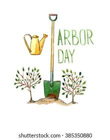 Arbor day, hand drawn, watercolor - Illustration