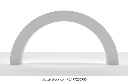 Arc Element Isolated On White Background. Blank Bow Mock-up. 3D render