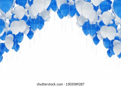Arc made of blue and white balloons, isolated on white background - Celebration 3d render