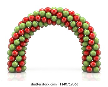 Arc made of red and green balloons 3D render illustration isolated on white background
