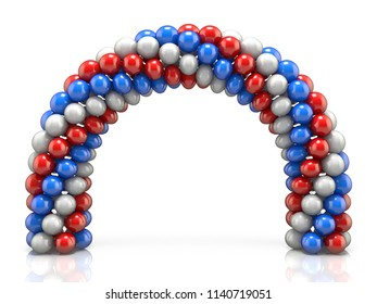 Arc made of white, red blue balloons 3D render illustration isolated on white background