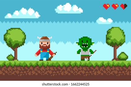 Arcade pixel game raster, viking with weapon and troll character fighting. Scenery with health point, pixelated hearts and grass, sky with clouds and trees nature