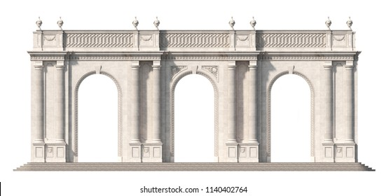 Arcade from a stone with doric pilasters and half-columns on a white background. 3d render
