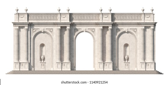 Arcade from a stone with doric pilasters and niche on a white background. 3d render