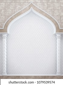 Arch and colonnade in Arabic style. Colonnade against the wall with the ornament. Classical colonnade. 3D Render