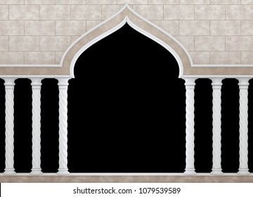 Arch and colonnade in Arabic style. Colonnade against the wall with the ornament. Classic colonnade. Isolated on black background 3d