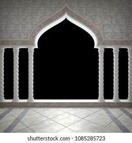 Arch and colonnade in Arabic style. Classic colonnade. Isolated on black background. 3D render
