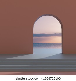 Arch door and stair with sunset background, Pink and blue colors, Backdrop, Empty space, 3D Rendering.