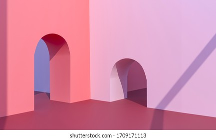 Arch entrance in pink pastel walls. Architecture Exterior - Hot sunny day. Empty Floor, exhibition podium, Platform for promoting products. Advertising 3d render illustration - copy space