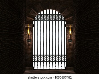 Arch with iron gate isolated.3d illustration