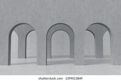Arch, Minimal Background, Gray color, Cement Texture. 3D Rendering