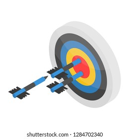 Arch shooting on target icon. Isometric of arch shooting on target icon for web design isolated on white background