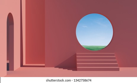 Arch and stairs in trendy minimal interior. 3d render illustration in modern geometric style. Coral pastel colors background for banners for product presentation. Abstract composition.