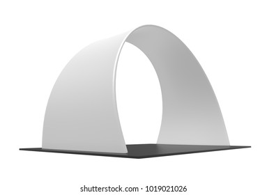 Arch Tension Fabric Trade Show Display backdrop event trade show conference booth. 3d render illustration.