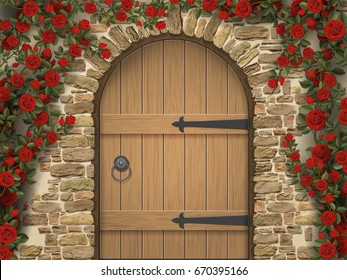 Arch Wooden Door And Roses