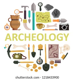 Archaeology icon set with archeology lettering. illustration of archaeological tools, ancient artifacts isolated on white background.