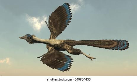 Archaeopteryx birds dinosaurs flying - 3D render