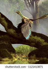 Archaeopteryx is a creature that seems to be half bird, half dinosaur. It lived in the Late Jurassic Period around 150 million years ago. 3D Rendering