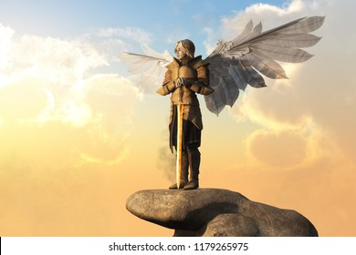 An archangel in golden armor, with sword in hand, and white feather wings spread stand atop a stone pedestal.  The bright sun rises behind it. 3D Rendering