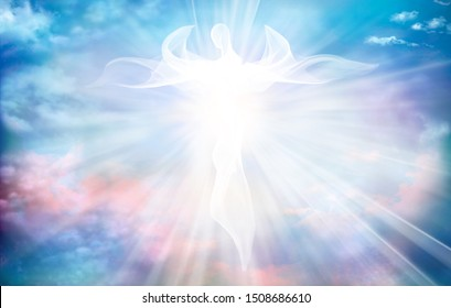 Archangel. Heavenly angelic spirit with wings. Illustration abstract white angel. Belief. Afterlife. Spiritual Angel. Blessing. Sky clouds with bright light rays