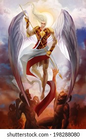 Archangel Michael descending & fighting with demons illustration.