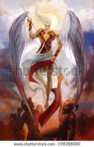 Archangel Michael descending fighting