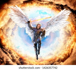 Archangel Michael, with flaming sword and shield, flying on feathered wings into hell, 3d render painting