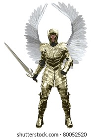 The Archangel Michael in golden armour carrying a sword, 3d digitally rendered illustration