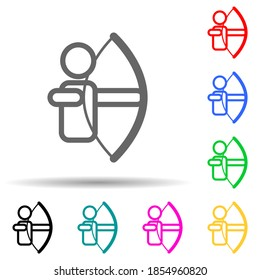 archer multi color style icon. Simple thin line, outline illustration of web icons for ui and ux, website or mobile application
