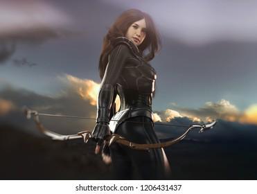 archer woman - 3d rendering