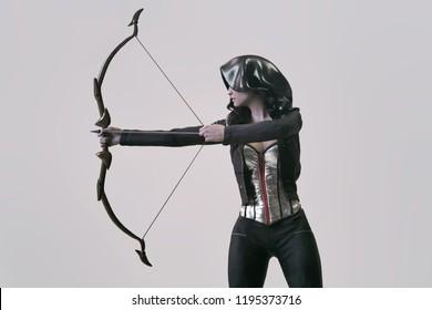 archer woman futuristic - 3d rendering