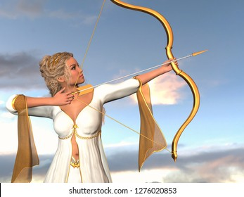 Archer woman with golden bow and arrow in front of blue sky. 3D rendering.