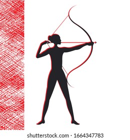 Archery - girl silhouette on white background - red abstract element for design   Life style.