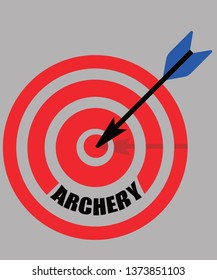Archery graphic will a big red bulls eye with a blue arrow shot.  Great for bow and arrow fans, archers  on a gray background.