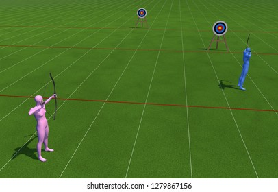 Archery, simile of sexist discrimination. The woman is further from the goal, and it is more difficult to get the goal. 3D Rendering.