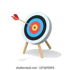Archery target with arrow isolated on white. Goal achievement concept. 3D render with clipping path