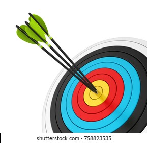 Archery Target with Arrows Isolated. 3D rendering