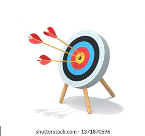 Archery target with arrows isolated on white. Goal achievement concept. 3D render with clipping path