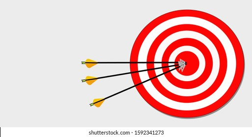 Archery target illustration,  with broadhead tips attached to the arrows in the bullseye.