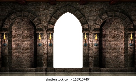 Arches and gate isolated.3d illustration