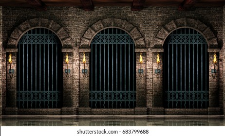Arches and iron railings.3d illustration