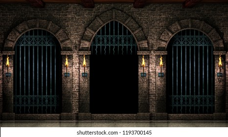 Arches and open iron gate 3d illustration