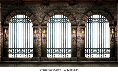 Arches with railings isolated 3d illustration