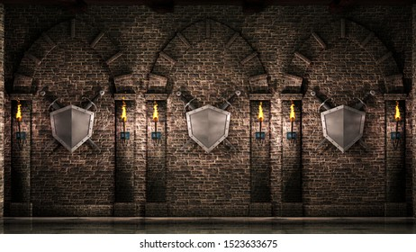 Arches with swords and shield 3d illustration