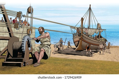 Archimedes pulls a ship with pulleys