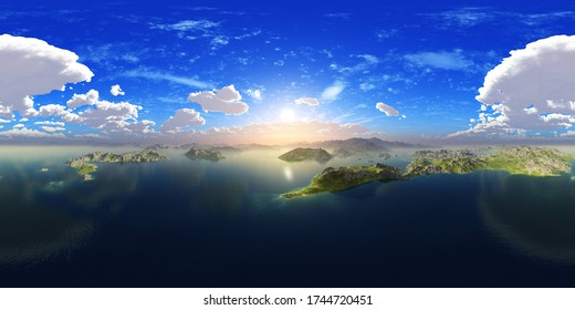archipelago, sea bay, HDRI, environment map , Round panorama, spherical panorama, equidistant projection, 360 high resolution panorama  3d rendering,