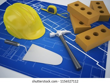 architechture and construction concept 3d rendering illustration